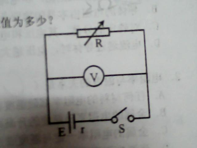 当电阻箱读数为5Ω时,电压表读数是5v.