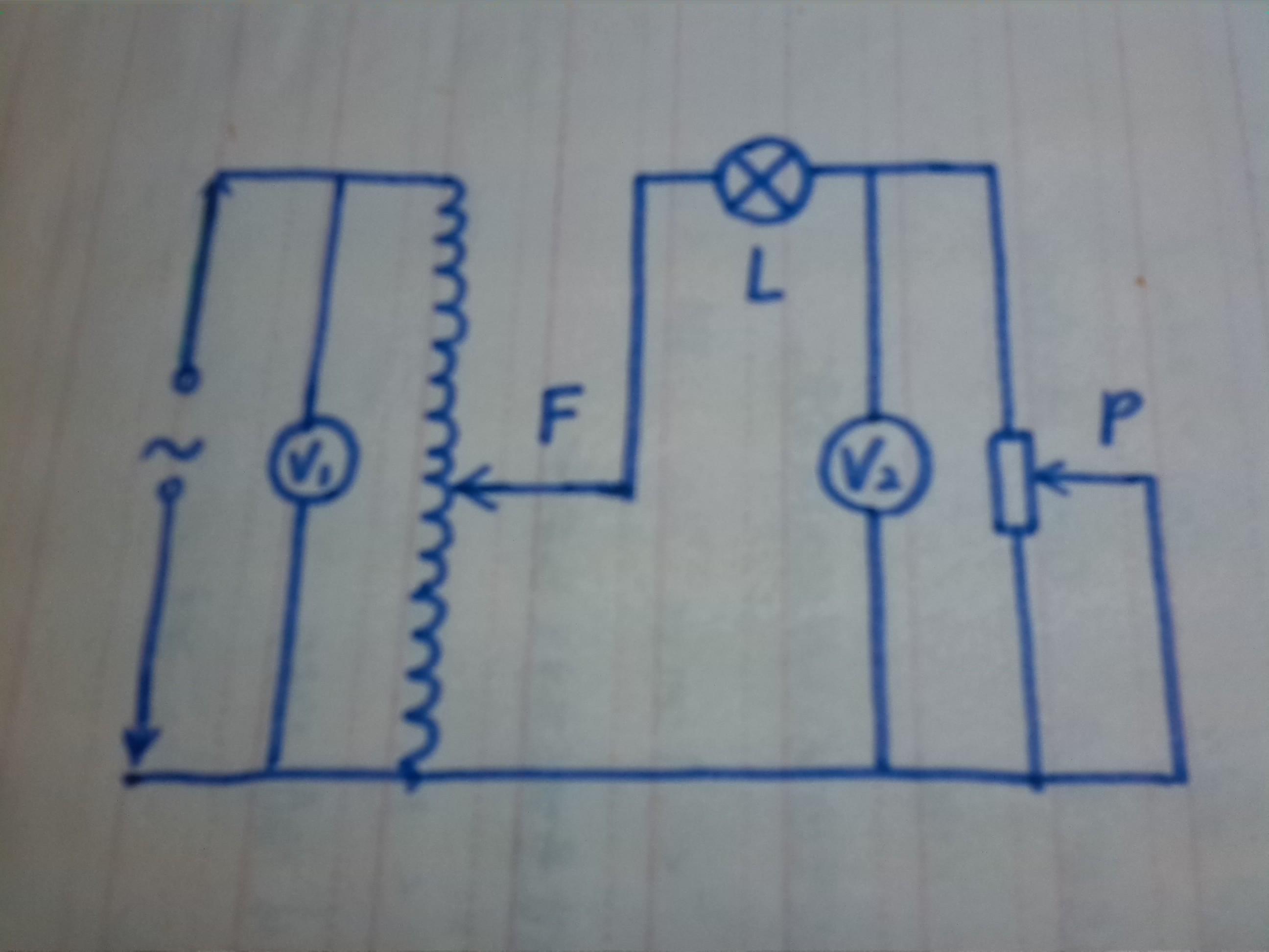 如图所示的电路图中,有一自耦变压器,左侧并联一只理想电压表v1后接在